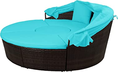 Patio Furniture Outdoor Round Sectional Sofa Set Rattan Daybed Sunbed with UV-Proof Retractable Canopy, Liftable Table, Separ