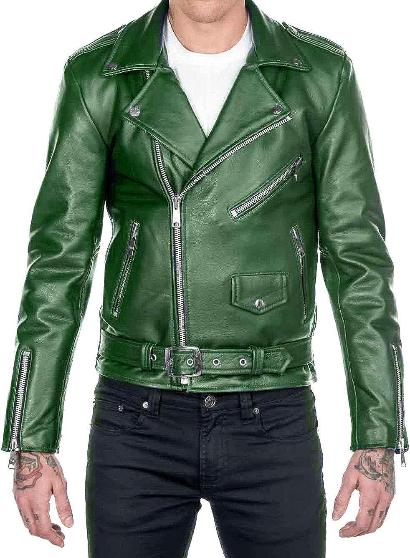 Mens Classic High quality Nippon regular agency Brando Motorcycle Rider Leather Biker Jacke Green