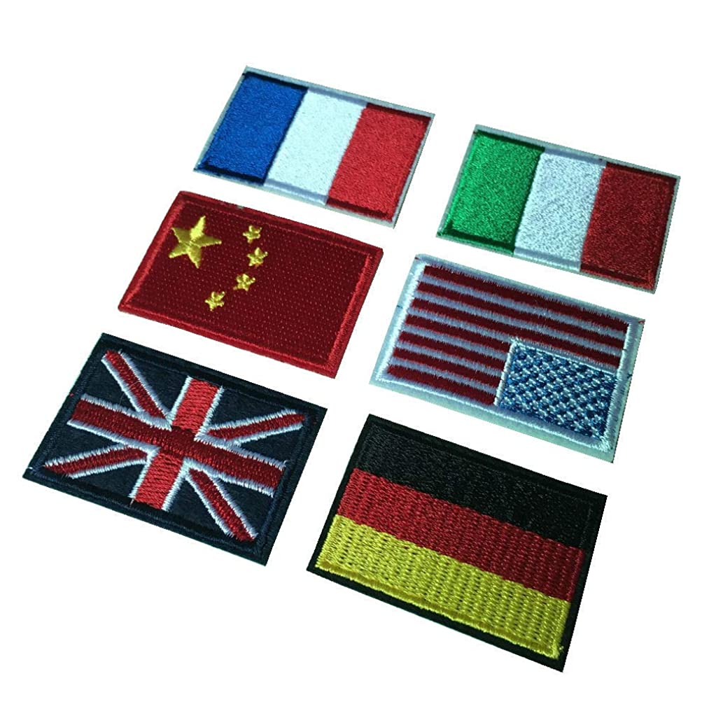 6pcs Embroidery Flag Iron On Sew On Patches China England America Italy France Germany Flags Appliques(1.81.2 inch)