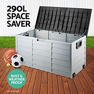 290L Outdoor Storage Box Lockable Weatherproof Garden Deck Toy Tool Organiser 2PCS
