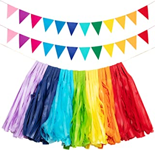 3 Sets Rainbow Paper Tassels Garlands Felt Fabric Bunting Banner DIY Kit for Wedding Birthday Party Decoration