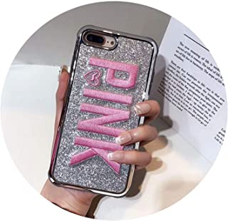 Cute 3D Embroidered Pink Glitter Soft Bling Phone Case for iPhone 6 6S 6 Plus 8 Plus X Back Case Cover for iPhone 7 7 Plus Cases,The Payment,for iPhone 7plus