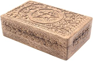 DharmaObjects Pentagram Star Carved Jewelry Trinket Keepsake Wooden Storage Box (Pentagram, Large)