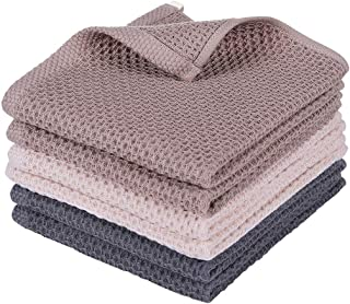 100% Natural Cotton Waffle Weave Kitchen Towels, Ultra Absorbent Quick Drying Dish Cloths, Soft Comfort Tea Towel - Great for Household Cooking Cleaning, 6pc/Set Washcloths