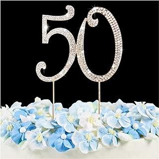 50 Cake Topper | Premium Bling Crystal Rhinestone Diamond Gems | 50th Birthday or Anniversary Party Decoration Ideas | Quality Metal Alloy | Perfect Keepsake …