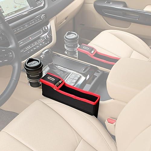 KMMOTORS コインの収納もできる車内収納ポケット コインサイドポケット(プライウッド/ホルダー有/助手席/レッド)