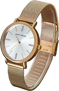Wyenliz Women's Watch Fashion Analog Quartz Watches with Stainless Steel Mesh Band Waterproof Wristwatch Casual Dress Gift Watch Ladies (Rose Gold)