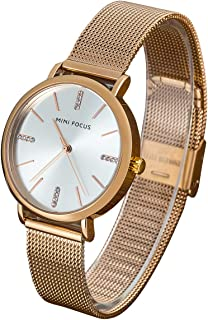 Wyenliz Women's Watch Fashion Analog Quartz Watches with Stainless Steel Mesh Band Waterproof Wristwatch Casual Dress Gift Watch Ladies (Rose Gold)