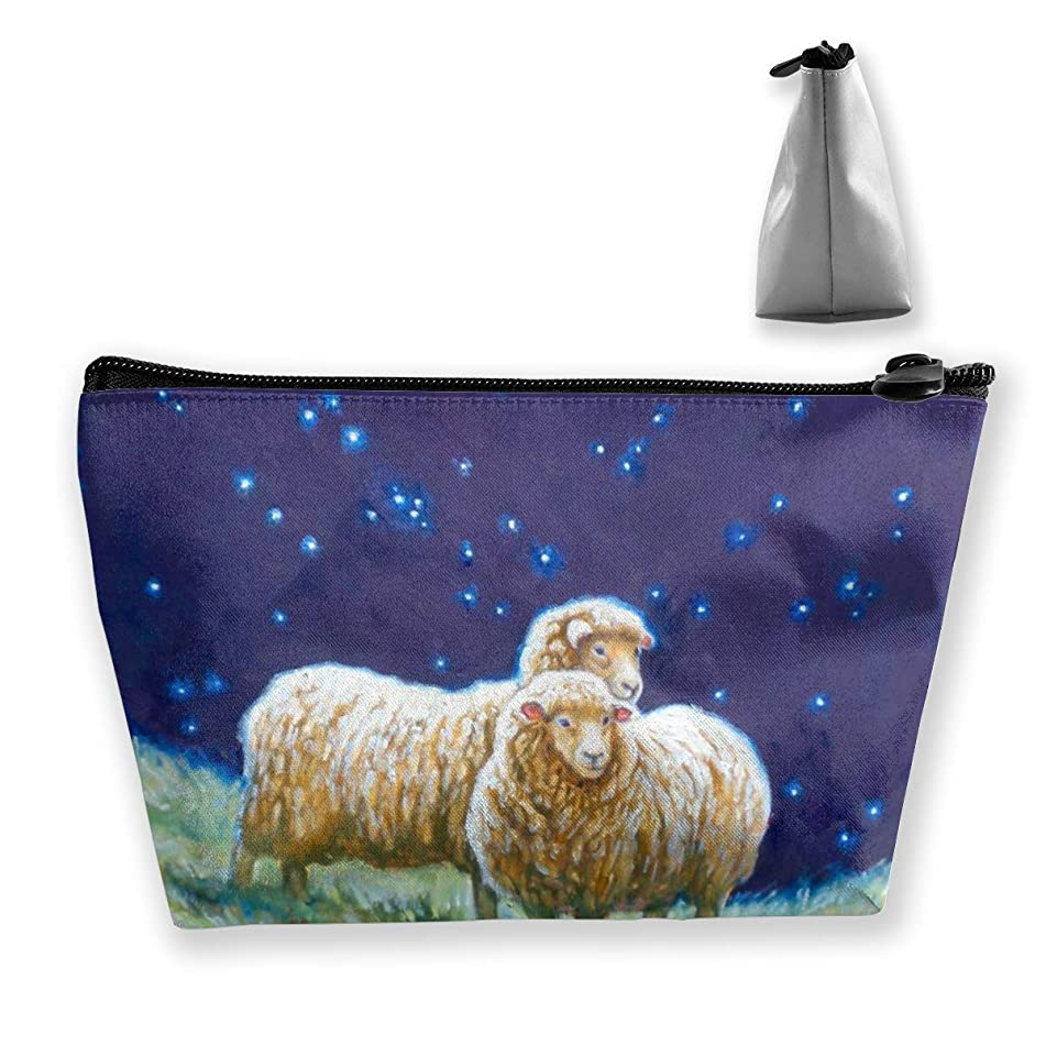 Trapezoidal Cosmetic Bags Makeup Toiletry Pouch Sheep Image Travel Storage Bag Phone Purse