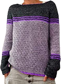 Women's Fall Crewneck Knit Contrast Pullover Long-Sleeves Sweaters Top