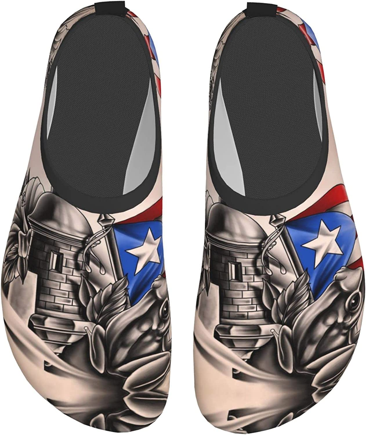 Puerto Rico Rican Flag Frog Mens and Womens Water Shoes Barefoot Quick-Dry Aqua Yoga Socks Slip-On for Beach Sports Swim Snorkeling