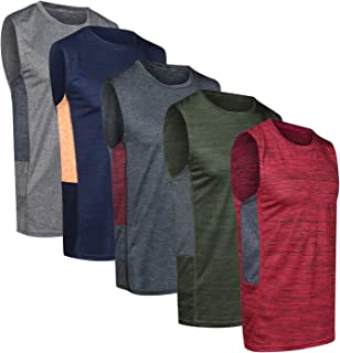 5 Pack: Men's Dry-Fit Active Athletic Tech Tank Top -...