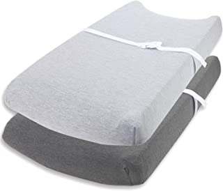 Changing Pad Cover Set by Cuddly Cubs | Ultra Soft Jersey Cotton Changing Table Cover Cradle Sheets 16x32 inches for Baby Girl and Boy | 2 Pack Heather Grey Change Table Sheets