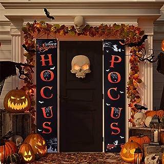 CDLong Halloween Decorations Outdoor – Halloween Porch Sign Banners – Hocus..