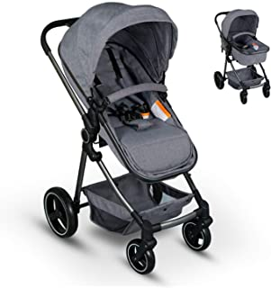 2 in 1 Baby Stroller for Newborn and Toddler Convertible Compact Single Baby Carriage with High Landscape Infant Stroller & Reversible Bassinet Pram