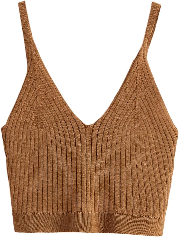 SweatyRocks Women's V Neck Crop Cami Top Ribbed Knit Spaghetti Strap Sleeveless Vest