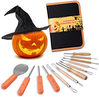 Snowcinda Pumpkin Carving Kit, Includes 12 Pcs Stainless Steel As a Carving Set for Pumpkin Halloween Decoration Kit Easily Sculpting Jack-O-Lanter Halloween Set
