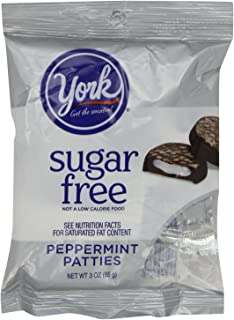 York Sugar Free Peppermint Patties Dark Chocolate Covered Mint Candy, 3 Ounce (Pack of 12)