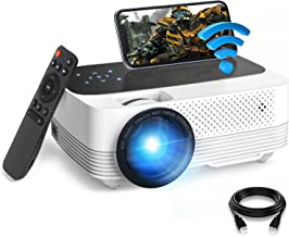 Mini Projector 1080P HD Supported, WiFi Projector, 6500Lux Film Projector with Synchronize Mobile Screen, Video Projector ...