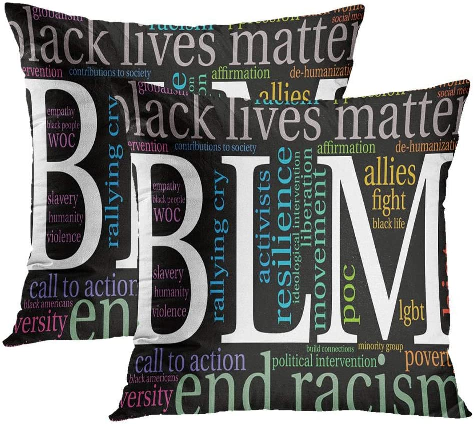 Black Lives Matter Set Weekly update of 2 Lowest price challenge Allies Cloud Word BLM Pillowcases A