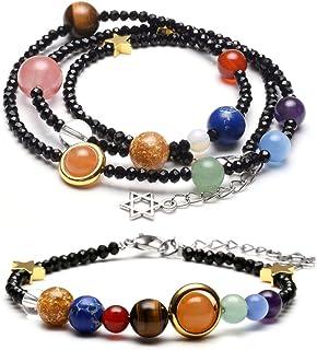 Jovivi - Set di braccialetti e collane in vetro per terapia energetica, con sistema solare e asteroide, colore nero