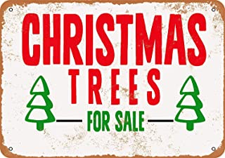 Vdisi Vintage Look Metal Sign - Christmas Trees for Sale Size 8x12 Inches
