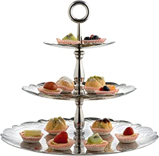 Alessi 圣诞 18/10 不锈钢 2 盘蛋糕架带树枝装饰,银色 银色 34 x 34 x 31.00 cm MW52/3