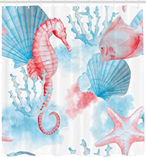 Ambesonne Nautical Decor Collection, Sea Shells Seahorse and Fish Sandy Beach Exotic Stylized Watercolor Effect Print, Polyester Fabric Bathroom Shower Curtain Set with Hooks, Coral Blue White