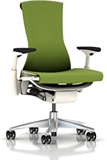 Herman Miller Embody Ergonomic Office Chair with White Frame/Titanium Base | Fully Adjustable Arms and Translucent Casters | Green Apple Balance