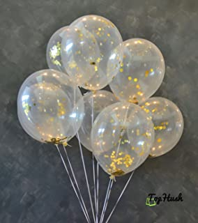 TopHush 18 Pieces Gold Confetti Party Balloons 12 Inches (Gold Confetti Inside), Free Mouth or Tube, For Events, Party, Wedding, Christmas, and Proposal Decorations