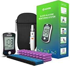 AUVON DS-W Blood Sugar Kit (No Coding Required), High-Tech GDH Diabetes Blood Glucose Meter with 100 Test Strips, 25 30G Lancets, Lancing Device and Hard Case