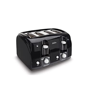 Sunbeam Wide Slot 4-Slice Toaster, Black (003911-100-000)