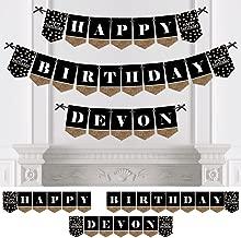 Custom Adult Happy Birthday - Personalized Birthday Party Bunting Banner & Decorations - Happy Birthday Custom Name Banner