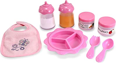 Melissa & Doug Mine to Love Baby Food & Bottle Set (Doll Accessories, Easy-Close Bib, Orange Juice and Milk Bottles, 8-Piece Set, Great Gift for Girls and Boys - Best for 3, 4, 5, and 6 Year Olds)