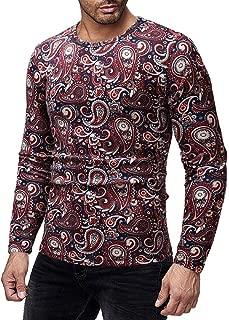 PASATO Men Casual Printed T-Shirt Autumn Winter Pullover Top Blouse