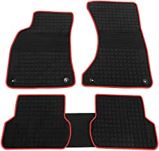 biosp Car Floor Mats for Audi A4 2017 2018 2019 Front and Rear Heavy Duty Rubber Liner Set Black Red Vehicle Carpet Custom Fit-All Weather Guard Odorless