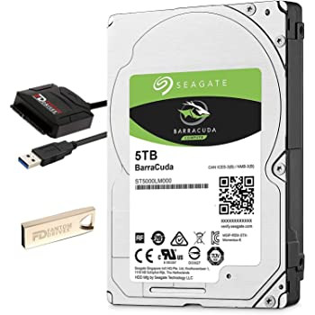 "Fantom Drives 5TB Internal Hard Drive Upgrade Kit with Seagate Barracuda ST5000LM000, 2.5"", 15mm, 5400RPM, 128MB Cache"