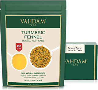 VAHDAM, Turmeric Fennel Herbal Tea Loose Leaf (100 Cups)   INDIA'S Magic HERB   Blend of Turmeric Tea, Fennel & Fresh Spic...