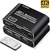HDMI Switch 4K HDMI Splitter, Koopman Aluminum HDMI 2.0 Switch 3 in 1 Out, HDMI Switch with IR Remote Control, Supports HDCP 2.2 4K@60Hz HDR 3D HD1080P, HDMI Switcher for PS4 Xbox Apple TV Fire Stick