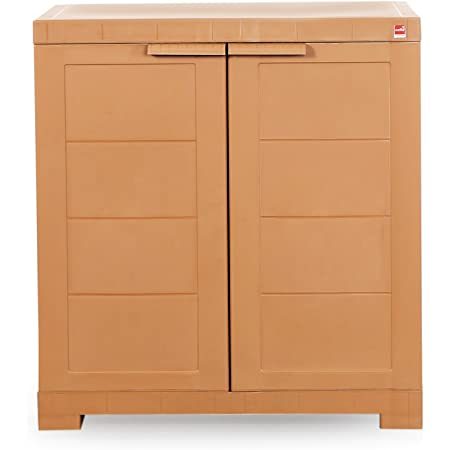 Cello Novelty Compact Plastic Cupboard with Shelf(Sandalwood Brown)