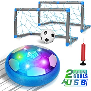 biulotter Kids Toys Hover Soccer Ball, Children Rechargeable Air Soccer with 2 Goals, Ball Toy with LED Light, Football Training Indoor & Outdoor Games Funny Gift for Boys Girls Adults