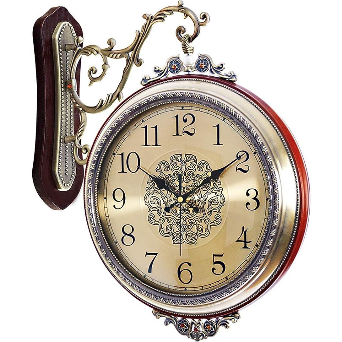 大胆不敵遊び場有効化ホーム&時計 ダブルサイドウォールクロックビンテージスタイルのラウンド時計、スクロールウォールサイドマウントとヨーロッパスタイルの装飾ホームインテリア
