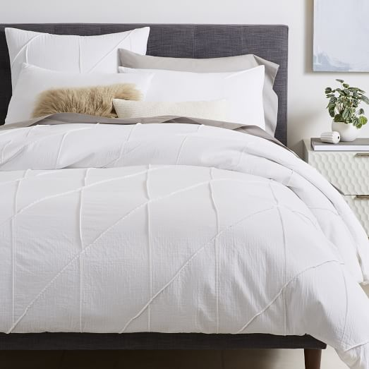 Organic Pleated Grid Duvet Cover + Shams - White | west elm