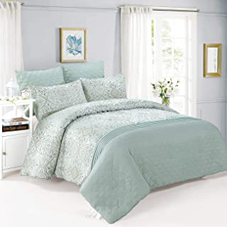 Queen Comforter Set 6 Pieces Jacquard with Microfiber 1 Comforter 2 Euro Sham 2 Sham 1 Bedskirt Pintuck Embossed Mint (Mint, Queen 6 Pieces)