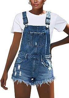 luvamia Women's Ripped Short Overalls Adjustable Denim Bib Overall Shorts Romper