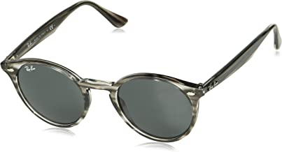 RAY-BAN RB2180 Round Sunglasses, Striped Grey Havana/Dark Grey, 49 mm