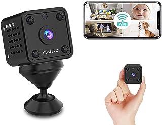 【2021Upgrade】 Mini cámara – CUSFLYX WiFi 1080P remoto inalámbrico de vídeo en vivo detección de movimiento IR versión noct...