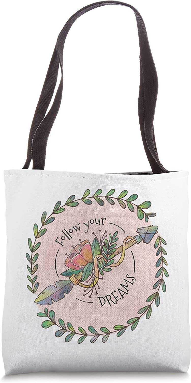 Follow Your Dreams Boho Distressed Hand Drawn Tote Bag