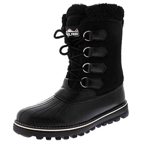 Polar Products Womens Warm Duck Winter Rain Fleece Snow Waterproof Mid Calf Boots
