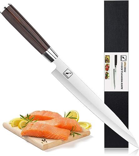 discount Sashimi new arrival Sushi Knife 10 inch: imarku Professional Single Bevel Japanese Sushi Knives for Fish Filleting & Slicing, new arrival 5cr15mov Steel with Ergonomic Pakkawood Handle - Yanagiba Knife outlet sale